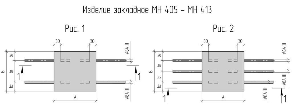 Закладные изделия МН по серии 1.400-15 выпуск 0